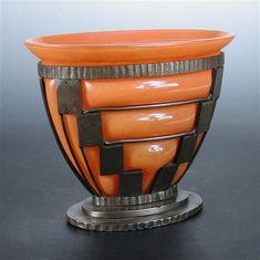 Daum, Nancy and Louis Majorelle Vase / orange glass vase with wrought iron frame, circa 1920. @designerwallace