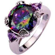 Yazilind Round Cut Big Stone Royal Rainbow Purple Cubic Zirconia CZ Silver Plated Ring Size