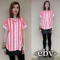 #Vintage #80s #Neon #Pink #White #Striped #Blouse #Shirt #Top S M by #shopEBV http://etsy.me/13JRt9s via @Etsy #etsy , $28.00
