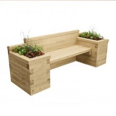 Long Planter Seat with Bookend Beds / x x - Modern Outdoor Garden Bench, Wooden Garden Benches, Wooden Garden Planters, Garden Bed, Garden Bench Seat, Corner Garden Bench, Garden Bench Plans, Diy Planters Outdoor, Wood Pallet Planters
