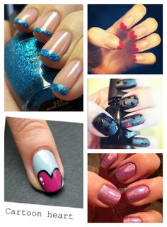 Love robins egg blue nails for spring with a cartoon heart nail accent.  Next mani...