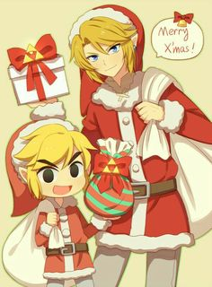 Merry Christmas, text, Link, Santa Claus, outfit, cute, chibi, presents; The Legend of Zelda