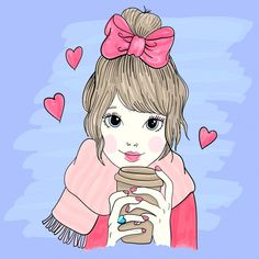 227b40cb64512 Hand drawn little girl illustration Premium Vector
