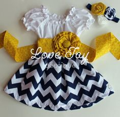 """Girls Cheveron Peasant style dress """"Navy and White"""" boutique hand made 6-9month -5T ...Love Tay Boutique"""