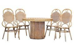 Chevron Bamboo Dining Table &  4 Chairs