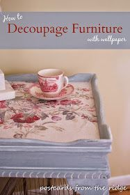 How To Decoupage Furniture With Wallpaper (or other types of papers) - Postcards From The Ridge