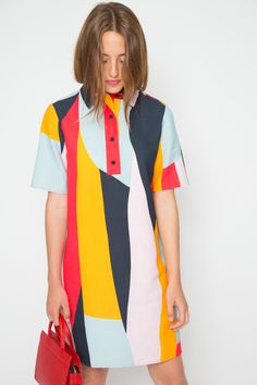 The swinging sixties come to mind with this geometrically psychedelic piece. A structured polo shirt that goes A-line for mini-dress styling. From the mind of Ellen Van Dusen, who crafts one-of-a-kind original prints from varied and alternative inspiration, comes this artful new fusion of mentally stimulating patterns. By Dusen Dusen Made in USA100% CottonWorn with C.A.B. | Mini Jeanne-Tomato , MARAIS | Jardin Heel-Cherry