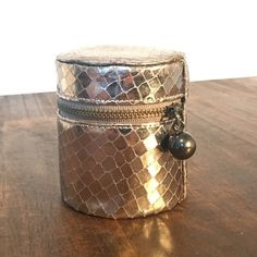 Snakeskin - Cylindrical Jewelry Case - Bronze Super cute! EUC - perfect for traveling or staying overnight to keep your Jewett together. Bags Cosmetic Bags & Cases