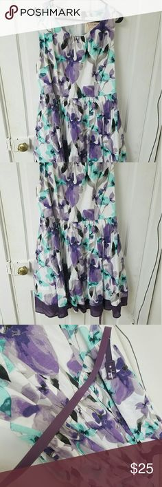 Modcloth white dress with purple and teal flowers Well loved but still in good shape. Comes with a purple belt. Got it from modcloth.com.  A-line. ModCloth Dresses Midi