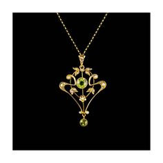 Antique 9Ct Gold Pendant Peridot & Seed Pearl - victorian lavaliere pendant necklace, green peridot, whiplash style pendant, vintage pendant by HelenasCurio on Etsy