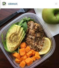 Meal prep inspiration. ... GRILLED CHICKEN; AVOCADO; SWEET POTATO; SPINACH; LEMON. ... #fitness #nutrition                                                                                                                                                      More