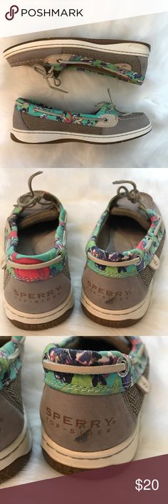 Sperry Top-Sider Grey/Floral Very gently worn (only worn a few times)! Very comfortable! They're the perfect shoe for spring/summer. Some wear/markings as seen in pictures. Do not have original box. Sperry Top-Sider Shoes Sneakers