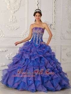 Buy 2013 appliqued blue and lavender dress for a quince with ruffles from top quinceanera dresses collection, strapless neckline a line in blue color,cheap floor length organza dress with lace up back and for sweet 16 quinceanera . Sweet Sixteen Dresses, Sweet 16 Dresses, Pretty Dresses, Awesome Dresses, Blue Ball Gowns, Ball Gown Dresses, 15 Dresses, Grad Dresses, Lavender Dresses