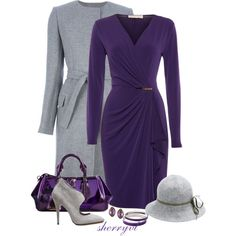 Long Grey Coat And Purple Bag Contest, created by sherryvl on Polyvore