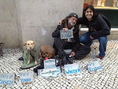 Is this dog also lazy?! :O  Spotted in Lisbon, Portugal.    #dog  #lazy  #beggar