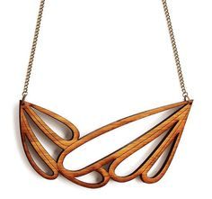 Large statement necklace - abstract necklace - Scandinavian inspired laser cut wooden jewelry - Scandinavian jewelry