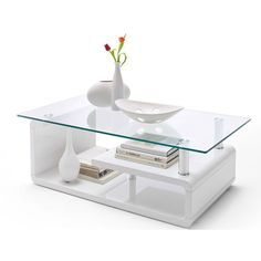 Alessia Gloss White Coffee Table With Clear Glass Top