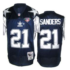 Sanders Jersey, Throwback #21 Dallas Cowboys Authentic Jersey in Dark Blue