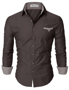 Doublju Mens Skinny Fit Button Down Plaid Casual Shirt CHARCOAL,S