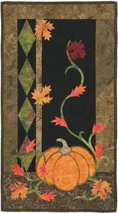 Jewels of Autumn Batik Pumpkin Autumn Wall Quilt Cotton Tales Pattern Curo Pamela Curo Jewels Autumn Jewels Autumn Quilt Halloween Quilts, Fall Halloween, Applique Patterns, Applique Quilts, Quilt Patterns, Wool Applique, Craft Patterns, Hanging Quilts, Quilted Wall Hangings
