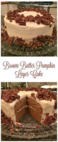 BROWN BUTTER PUMPKIN LAYER CAKE - 5 star tried and true recipe! | SweetLittleBluebird.com