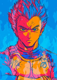 Super Saiyan God Vegeta!!! I was so tempted to add in his signature forehead vein You can get this design on custom posters, prints, tees and more at my RedBubble store!
