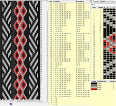 36 tarjetas, 4 colores , diagonal y diamantes // diseñado en GTT༺❁ Inkle Weaving Patterns, Weaving Textiles, Loom Weaving, Finger Weaving, Types Of Weaving, Inkle Loom, Card Weaving, Willow Weaving, Viking Knit