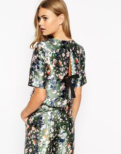 Image 1 ofDahlia Floral Print Top With Tie Back