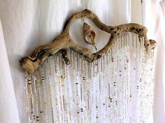 Crystal Driftwood Mobile Valance 24kt gold, Sterling Silver, Glass, Stone and Shell on Etsy, $800.00