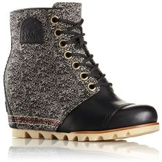 1964 PREMIUM™ WEDGE BOOT ($230) ❤ liked on Polyvore featuring shoes, boots, genuine leather boots, waterproof boots, wedge heel boots, sorel shoes and waterproof leather boots