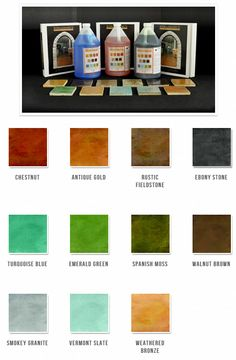 Concrete stains color chart provided by SRI Concrete Products featuring Renaissance Concrete Chemical Stains.