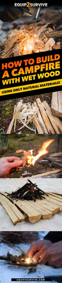 How To Build A Campfire With Wet Wood Using Only Natural Materials! (Bushcraft Skills How To Build A Campfire With Wet Wood Using Only Natural Materials! Bushcraft Skills, Bushcraft Camping, Camping Survival, Survival Skills, Camping Gear, Emergency Preparedness, Survival Tips, Backpacking, Winter Survival