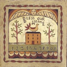 Bless our Home 12 x 12 print on wood by Teresa Kogut on Etsy