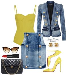 Fashion Trends to try, yellow and denim. Classy Outfits, Chic Outfits, Trendy Outfits, Fashion Outfits, Womens Fashion, Fashion Trends, Denim Fashion, Look Fashion, Autumn Fashion