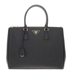 Prada Saffiano Double Zip Lux Black Nero Medium Tote Handbag $2550 Brand new !