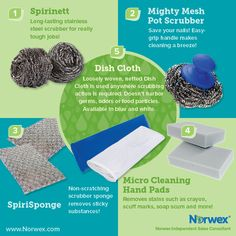 Norwex (1) Spirinett, (2) Mighty Mesh Pot Scrubber, (3) SpiriSponge, (4) Micro Cleaning Hands Pads, (5) Dish Cloth. For Facebook parties, online events and marketing.