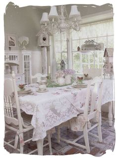 I dearly love this delicately spread of shabby chick and antique y look