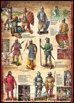 Medieval Warriors on the Territory of Romania. by Radu Oltean Medieval World, Medieval Knight, Medieval Armor, Medieval Times, Military Art, Military History, Woodcut Art, Age Of Empires, Fantasy Weapons