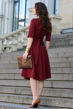 Plus Size Dress Cocktail Dress Womens Dress Red Dress Burgundy Dress Rust Women Dress Knee Length Short Sleeve Dress Dress Trendy Dresses, Women's Dresses, Dress Outfits, Nice Dresses, Casual Dresses, Fashion Outfits, Awesome Dresses, Elegant Dresses, Wedding Dresses