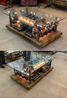 This is a repurposed car engine coffee table by Minnesota-based Machine Age Lamps. Founded by Shawn Carling, the company provides Steampunk lighting and furniture fixtures that are perfect for people interested in machine age styles. Garage Furniture, Car Part Furniture, Automotive Furniture, Automotive Decor, Metal Furniture, Industrial Furniture, Furniture Design, Steampunk Furniture, Handmade Furniture