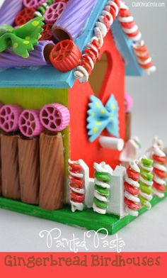 Painted Pasta Gingerbread Birdhouses-Interesting DIY Birdhouses