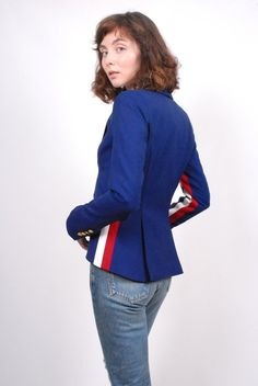 Smythe Racing Stripe Blazer - Cobalt on Garmentory Essential Wardrobe Pieces, Size 0 Models, Stripe Blazer, Racing Stripes, Tailored Jacket, White Fabrics, Cobalt, Dapper, Menswear