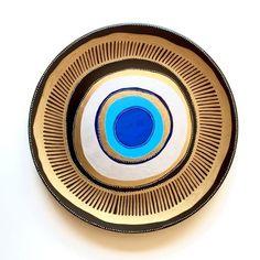 Decorative Plate - Blue Evil Eye Plate - Original hand-painted Artwork - Golden Wall Art - Blue Mandala - Wall hanging - Wall Decor by…:
