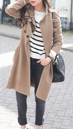 trench and stripes never go out of style
