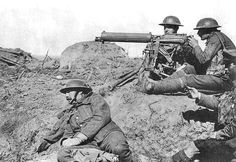 WW1: A British army machine gun element deploys the Vickers water-cooled heavy machine gun somewhere on the Western Front. The Vickers was a tough weapon, literally indestructible, and rarely in trouble mechanically. It remained in service well into WW2 and continued as the heavy MG in many countries until the 1960s.