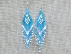 Aqua Blue Earrings. Native American Earrings Inspired. Dangle Long Earrings. Beadwork.