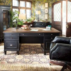 """Beckett Executive Desk With Milled Pine Parquet Top In Black  $1599 sale  70""""W X 32""""D X 31""""H"""