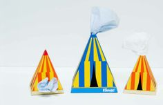 Series of Kleenex Tissue Boxes - I came out with an idea of circus and then I designed Kleenex package designs. The tissues not only came out from one hole; people can take out tissues from the clown's mouth, ears, or from holes on top of the circus tent.