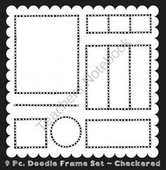 Frames ~ Doodle Frame Set ~ Checkered Ink n Little Things Clip Art from Ink n Little Things on TeachersNotebook.com (9 pages)  - This set includes 9 matching digital frames. The frames come in four fills, transparent, transparent center, filled, and filled center.