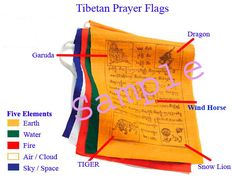 Tibetan prayer flags blow in the wind to give blessings on the world. Five colors for five elements: earth, water, fire, air and sky.
